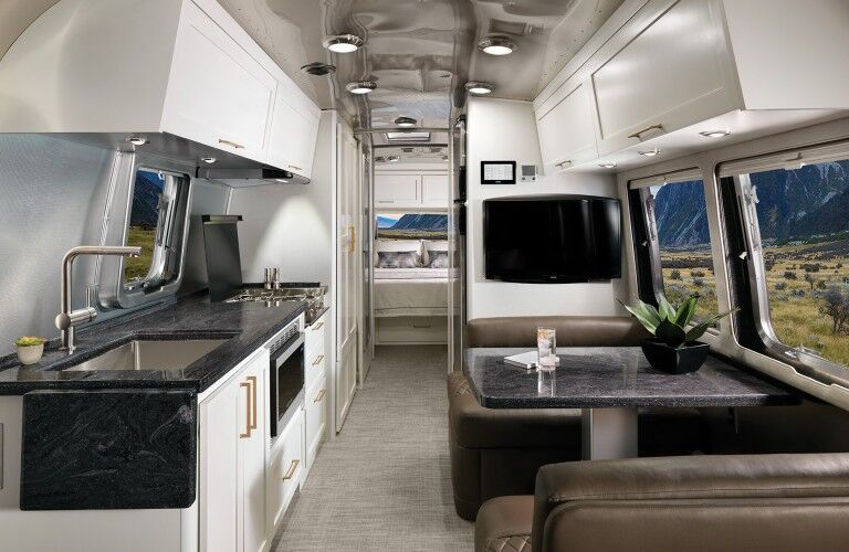 The white interior inside the 2021 Airstream Classic 30RB.