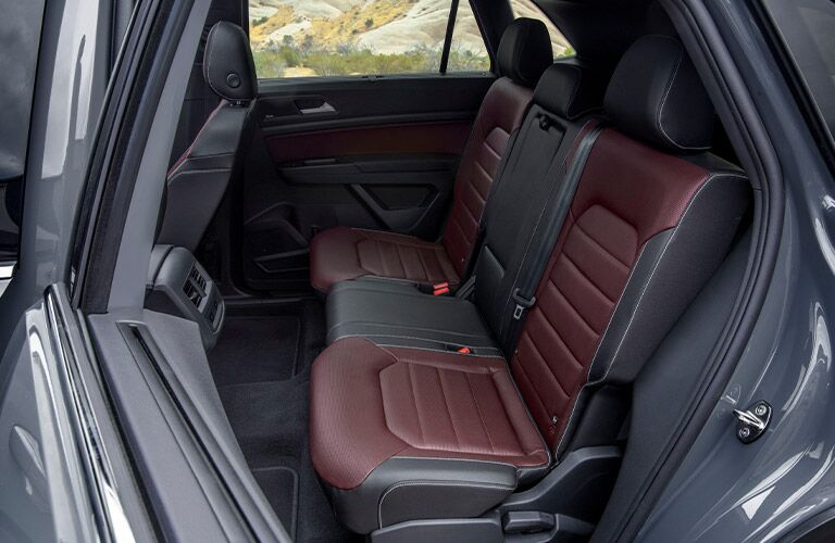 Interior view of the rear seating area inside a 2020 Volkswagen Atlas Cross Sport