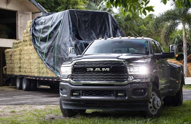 2020 Ram 3500 towing hay trailer