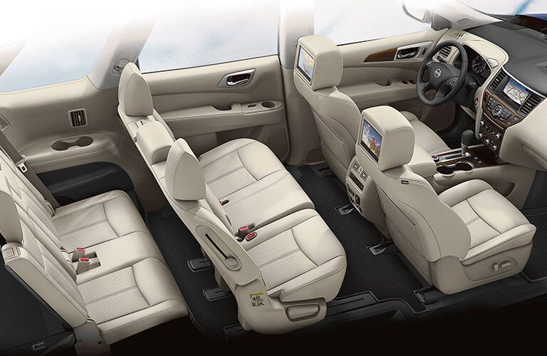 A cut-away photo of the seating options in the 2020 Nissan Pathfinder.