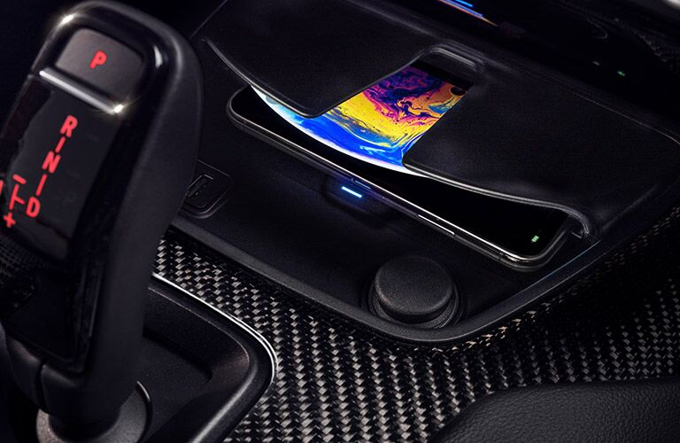 Interior view of the Qi-Compatible Wireless Charging Tray with Light Indicator inside a 2021 Toyota Supra