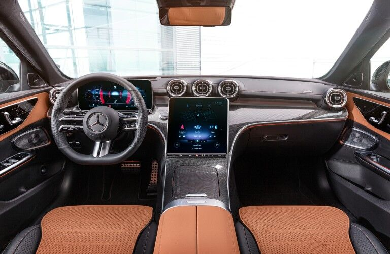 Driver area of the 2022 Mercedes-Benz C-Class vehicle