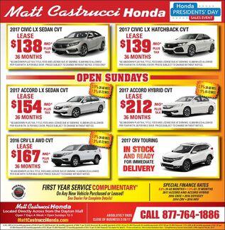 February Honda Specials