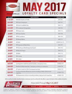May 2017 Loyalty Card Special