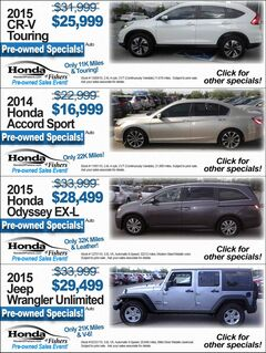 Honda of Fishers Pre-owned Specials