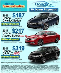New vehicle specials at Honda of Fishers