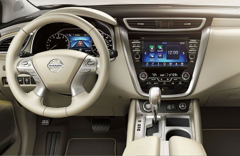 2018 Nissan Murano steering wheel and center console