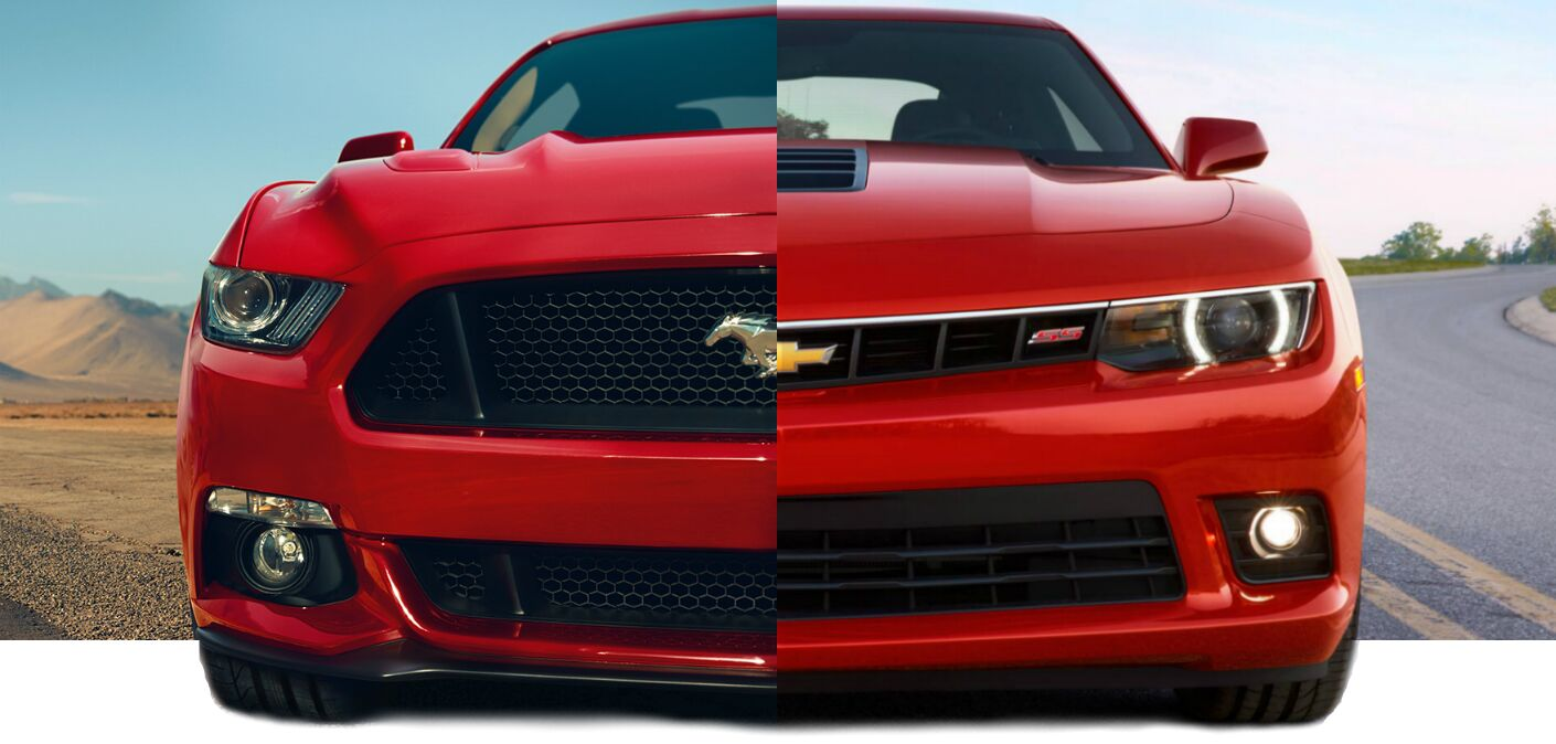 2015-ford-mustang-vs-2015-chevy-camaro-comparison-exterior-front-grille-design-pony-bowtie-emblem