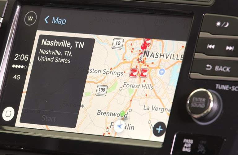Center touchscreen of 2018 Nissan Maxima showing navigation directions