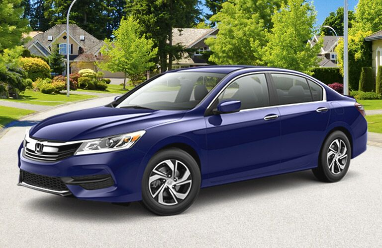 front and side view of blue 2016 honda accord