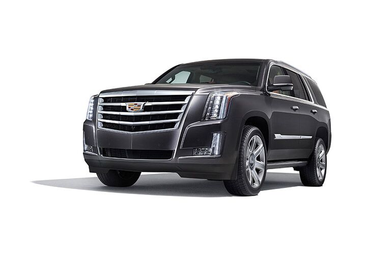 front and side view of black 2016 cadillac escalade