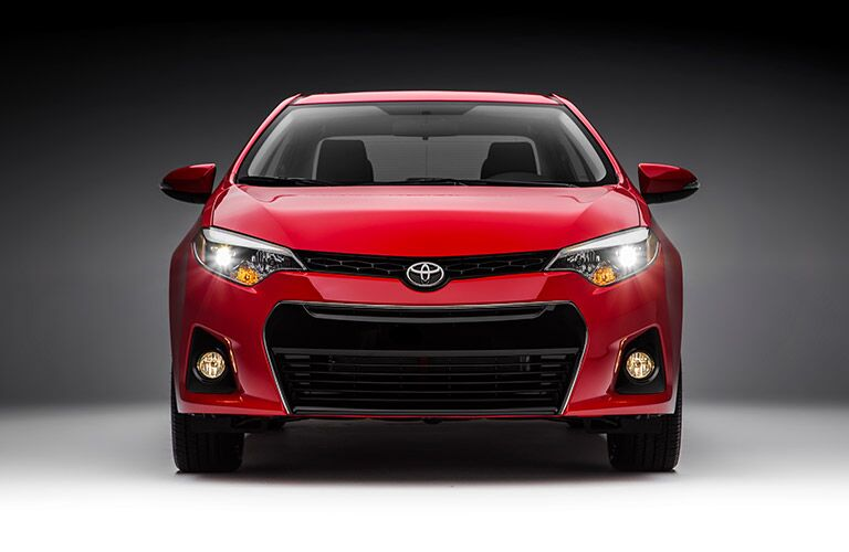 front view of red 2016 toyota corolla