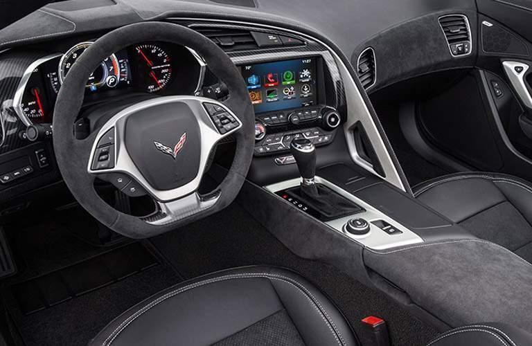 2017 Chevy Corvette interior front in black