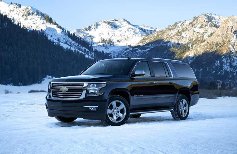 2017 Chevy Suburban exterior front off road in snow