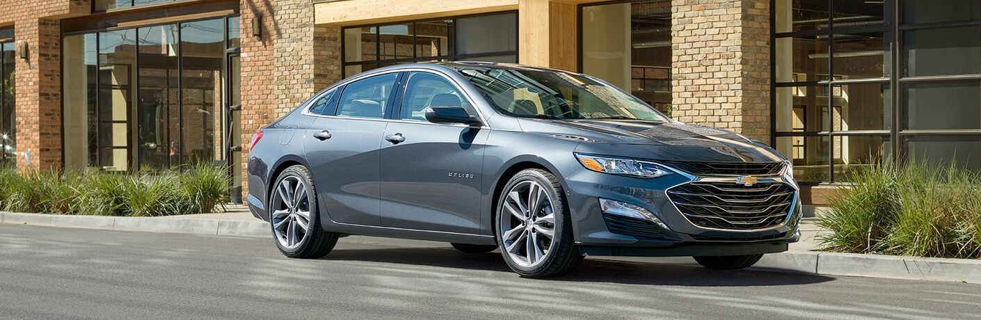 front and side view of gray 2019 chevy malibu
