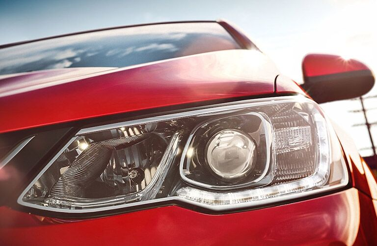 front headlight of red 2018 chevy sonic