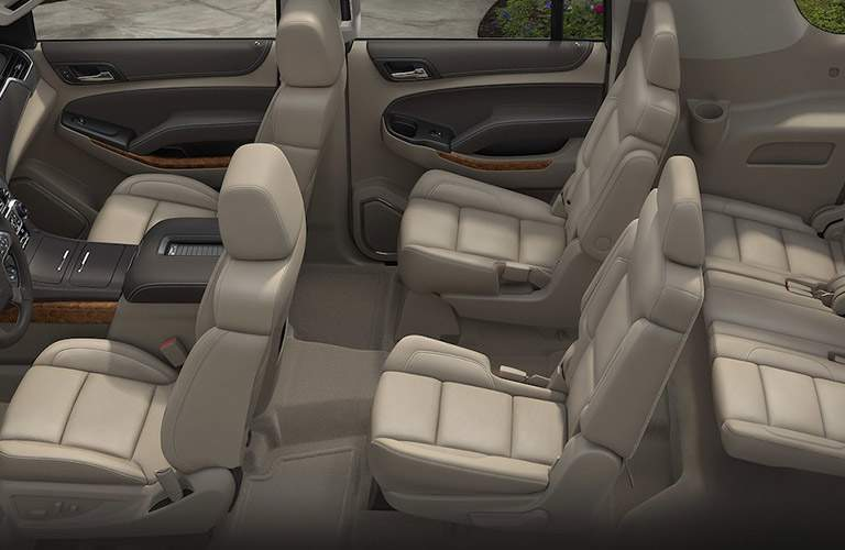 overhead image of the seating area inside the 2018 Chevrolet Suburban