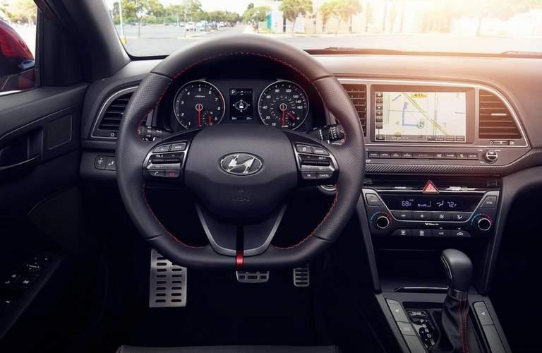 2018 Hyundai Elantra interior front steering wheel and controls