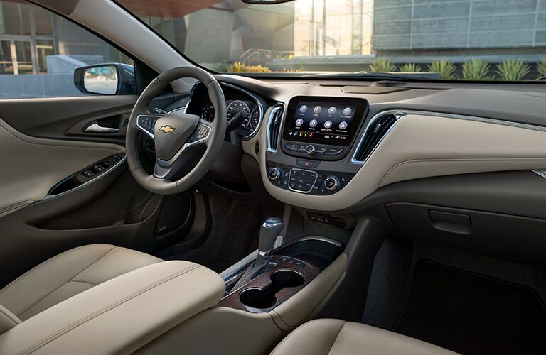 front interior of 2019 chevy malibu including steering wheel and infotainment system