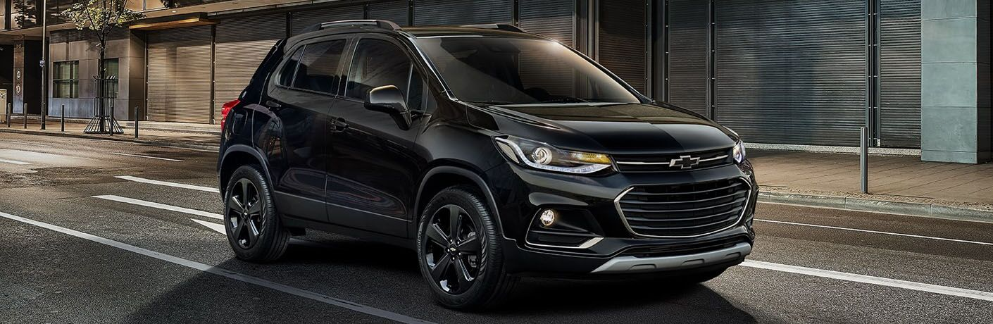 front and side view of black 2019 chevy trax