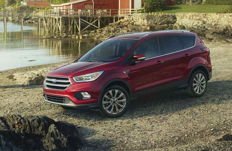front and side view of red 2019 ford escape