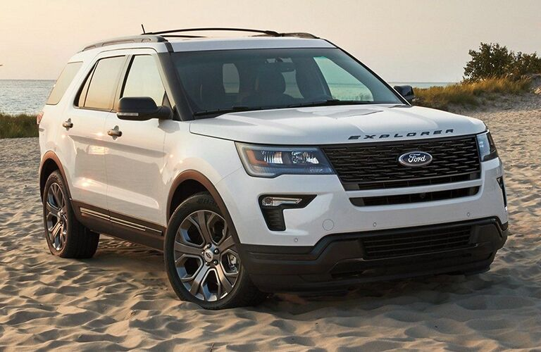 front and side view of white 2019 ford explorer