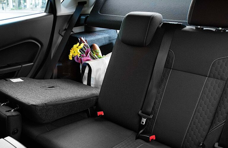 rear seats of 2019 ford fiesta hatchback with seat folded down