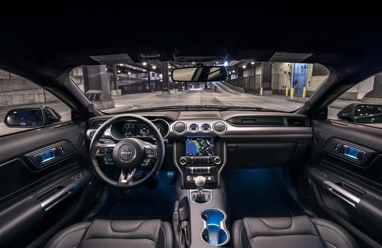 front interior of 2019 ford mustang bullitt including steering wheel and infotainment system