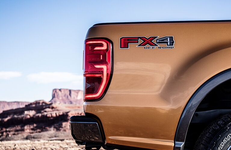 side view of rear taillight of 2019 ford ranger