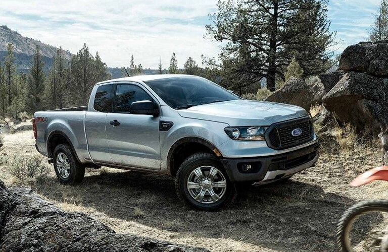 front and side view of silver 2019 ford ranger
