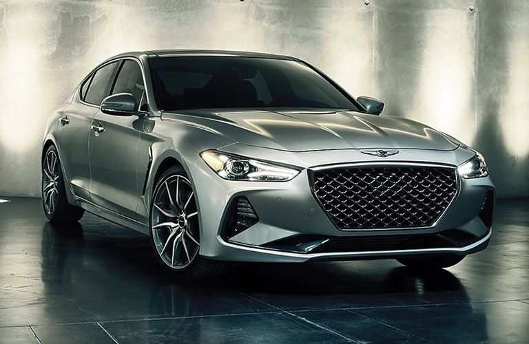 front and side view of silver 2019 genesis g70