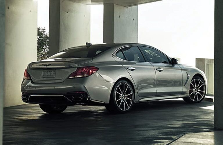 rear and side view of silver 2019 genesis g70