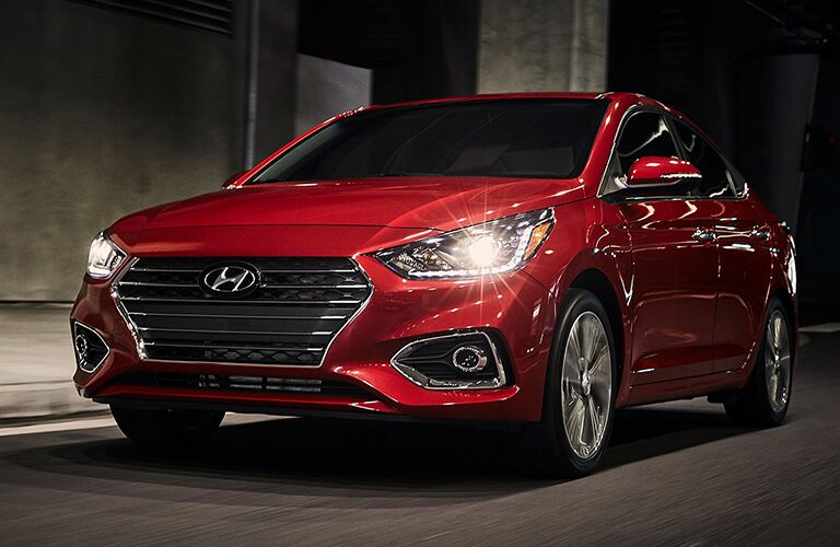 front and side view of red 2019 hyundai accent
