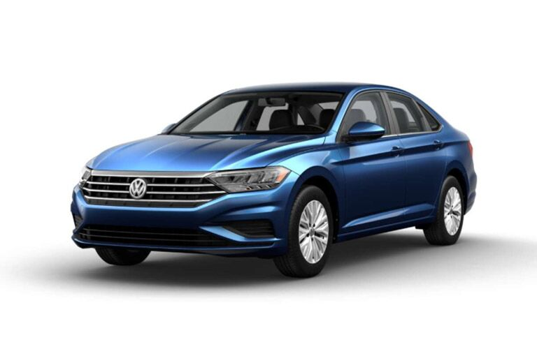 front and side view of blue 2019 volkswagen jetta