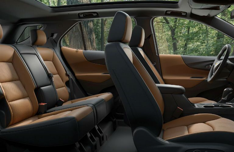 side view of interior seating of 2019 chevy equinox including front and rear seats