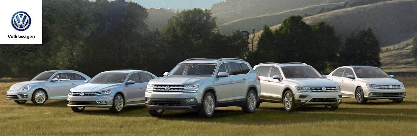 lineup of volkswagen cars and suvs