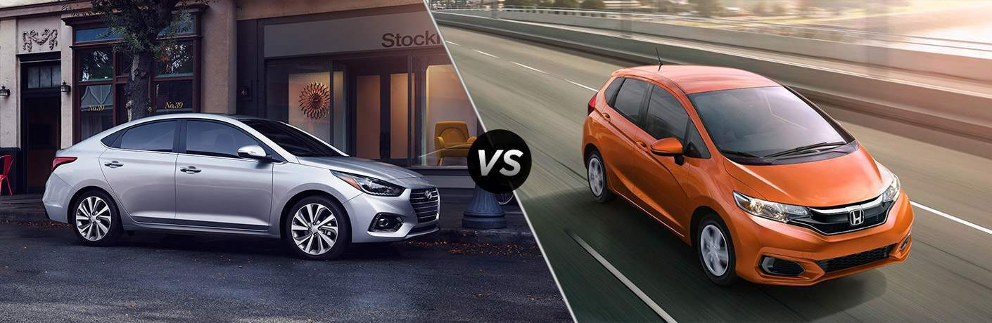 2018 hyundai accent and 2018 honda fit side by side