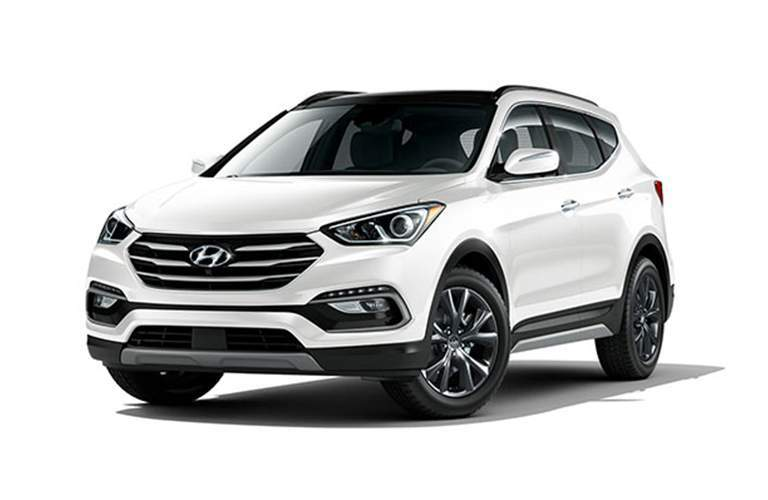 2018 Hyundai Santa Fe Sport white side view on a white background
