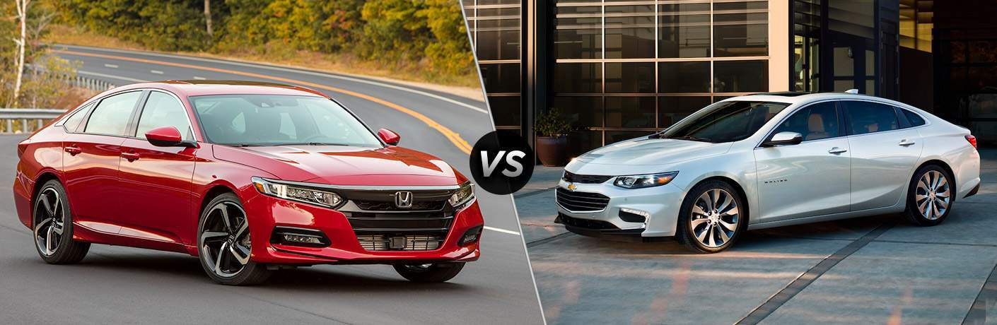 2018 Honda Accord red front view and 2018 Chevy Malibu silver front view