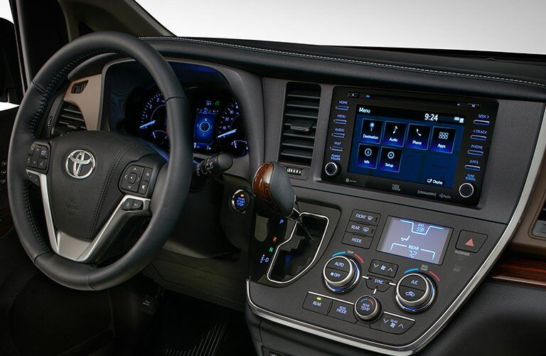 2018 Toyota Sienna view of steering wheel and dashboard
