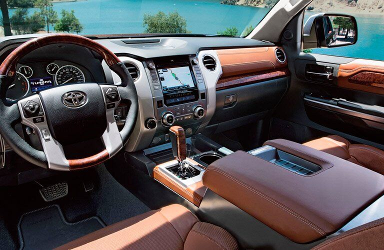 view of the dashboard of the 2017 Toyota Tundra from the driver's side