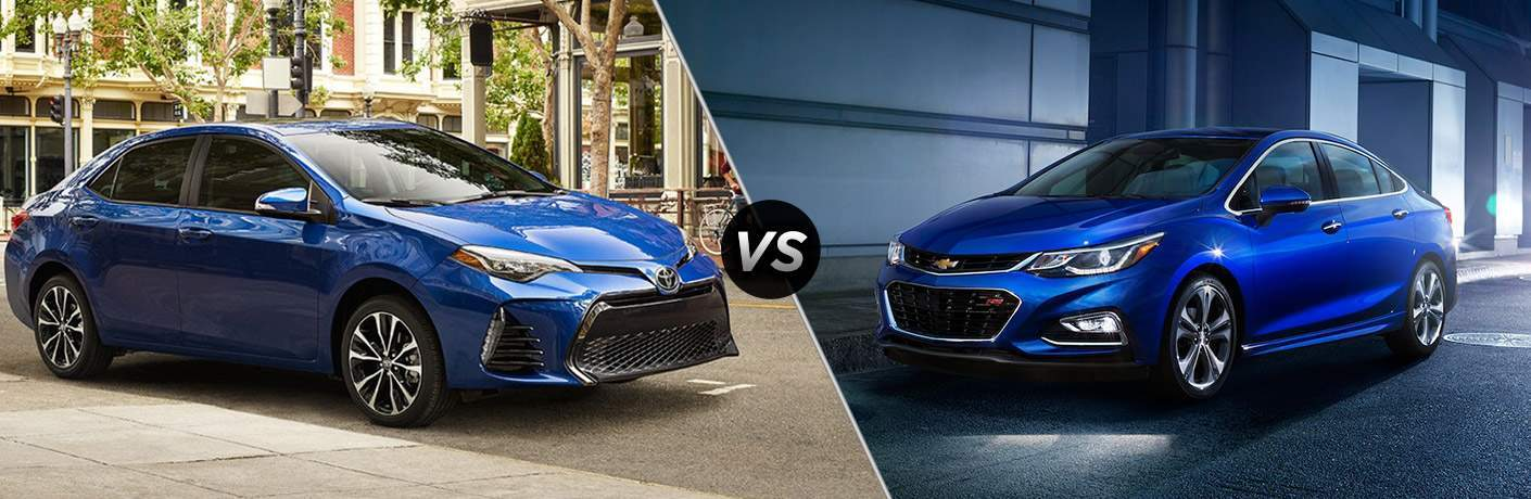 Split screen images of the 2018 Toyota Corolla and the 2018 Chevy Cruze