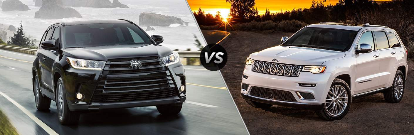 split screen images of the 2018 Toyota Highlander and the 2018 Jeep Grand Cherokee