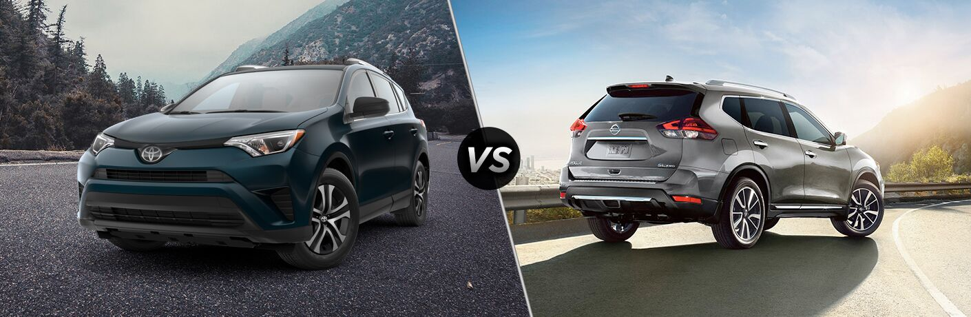 Split screen images of the 2018 Toyota RAV4 and the 2018 Nissan Rogue
