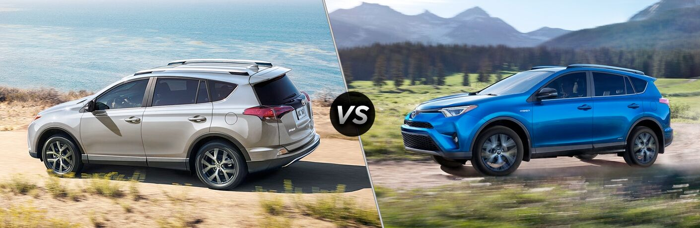 Split screen images of the 2018 Toyota RAV4 and the 2018 Toyota RAV4 Hybrid