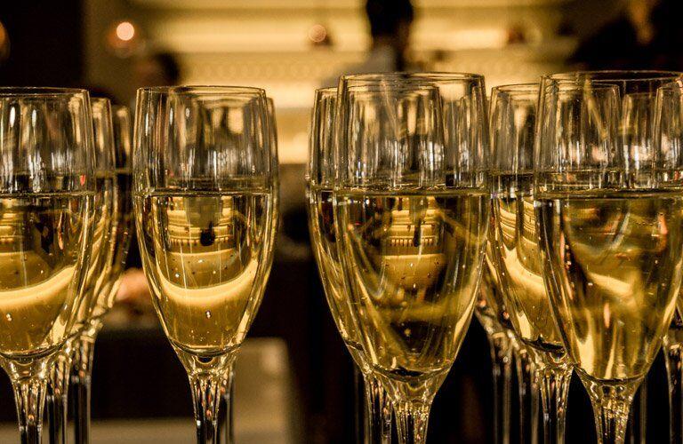 glasses of golden champaign
