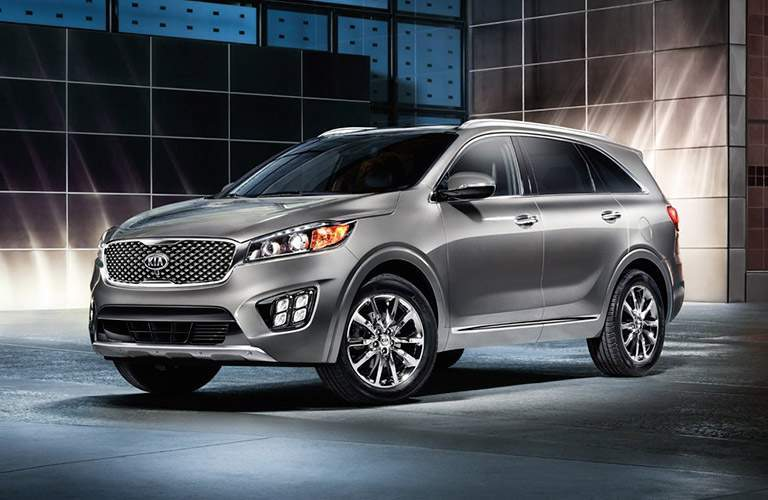 Silver-colored 2016 Kia Sorento in a studio