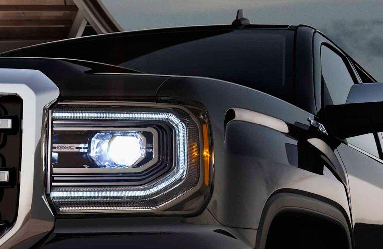 2017 GMC Sierra  headlight close up