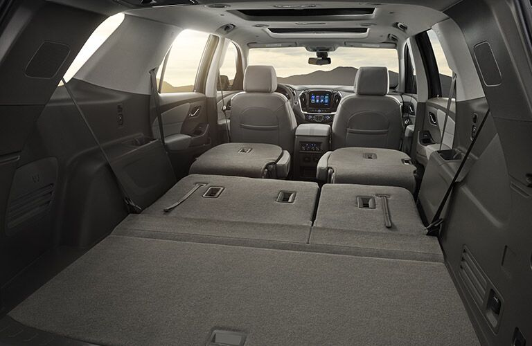Cargo area of 2018 Chevy Traverse with collapsed seats