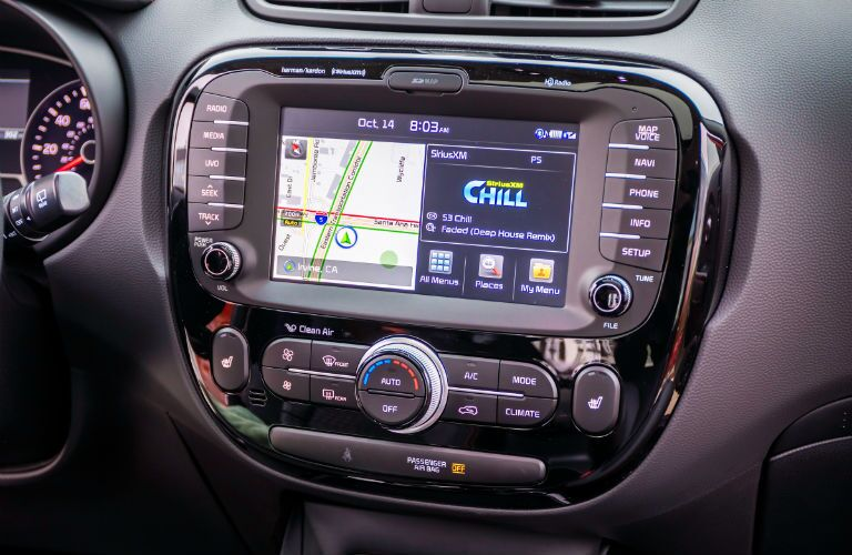A photo of the one of the touchscreen options available in some used Kia Soul models.